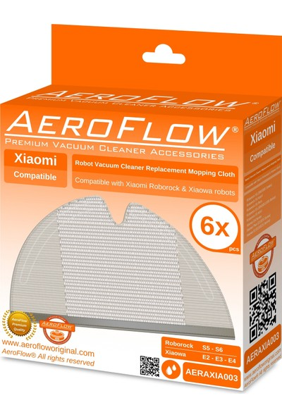 Aeroflow Orijinal Xiaomi Mi Robot Vacuum Mop Uyumlu - Akıllı Robot Süpürge 6lı Mop Fiber Bezi