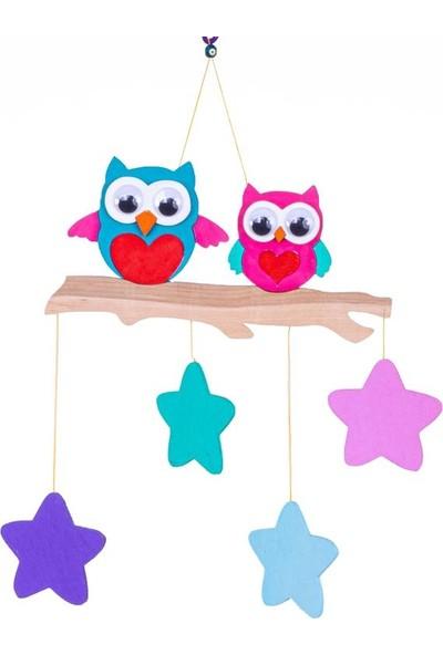 Ingodı Sevimli Baykuşlar ve Yıldızlar Ahşap Dönence Bebek Beşik Oyuncağı