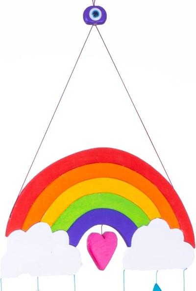 Ingodı Gökkuşağı ve Yağmur Damlaları Ahşap Dönence Bebek Beşik Oyuncağı