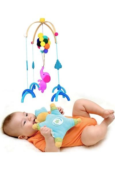 Ingodı Sevimli Fil ve Balonlar Ahşap Dönence Bebek Beşik Oyuncağı