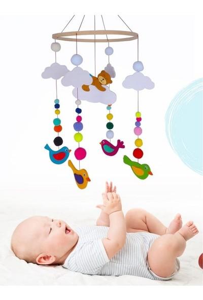 Ingodı Sevimli Ayıcık ve Kuşlar Ahşap Dönence Bebek Beşik Oyuncağı