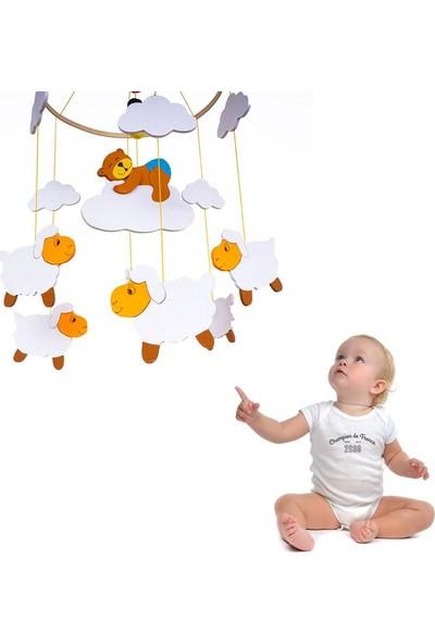 Ingodı Sevimli Ayıcık ve Koyunlar Ahşap Dönence Bebek Beşik Oyuncağı