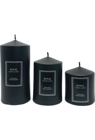 Royal Süper Set Siyah Silindir Mum Pudra Kokulu 6 Çap Boylar 6 x 9 x 12 cm