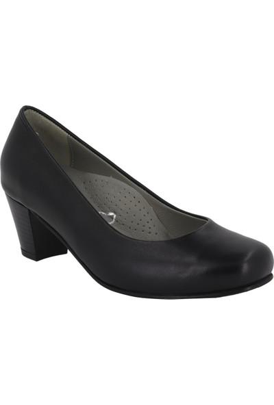 Hobby Siyah Deri Topuklu Kadın Ayakkabı 5116