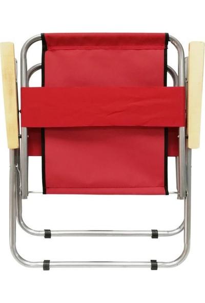 Housepack 3 Lü Kamp Seti 2 Kırmızı Sandalye ve 60X80 Beyaz Katlanır Masa