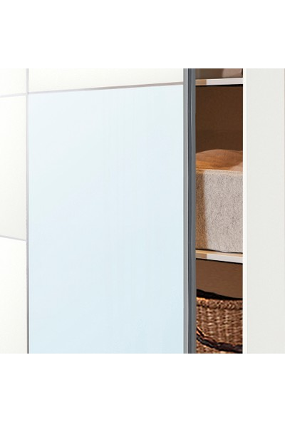 Dekorex SRG-106-BEYAZ -Sürgü Kapaklı Aynalı Eko Gardırop