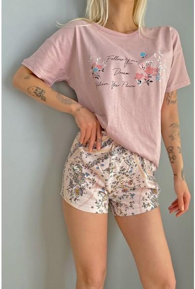 Pijama Evi Believe Flower Baskılı Şortlu Kadın Pijama Takımı