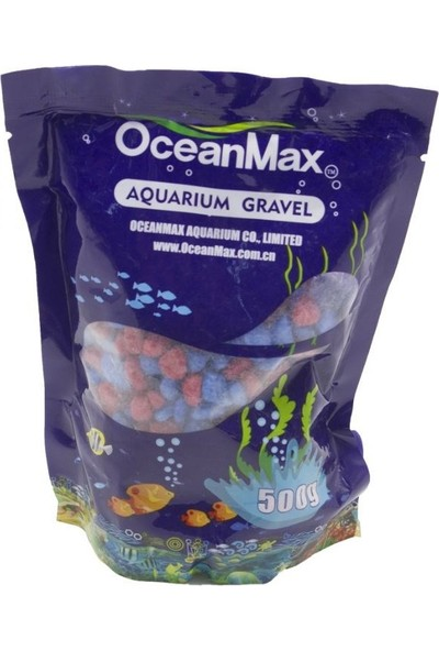 Ocean Max Akvaryum Çakıl Taşı Bordo Mavi Renkli 5-8mm 500GR