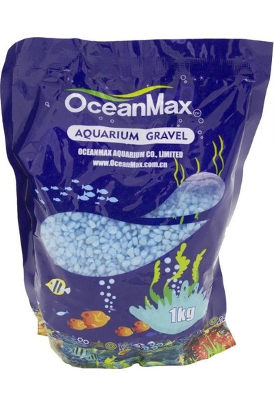 Ocean Max Akvaryum Çakıl Taşı Mavi Renkli 3-5mm 1kg
