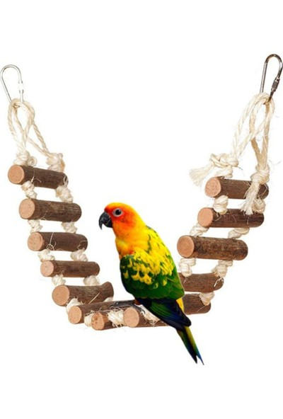 Alyones Ahşap Halatlı Muhabbet Kuşu Merdiveni
