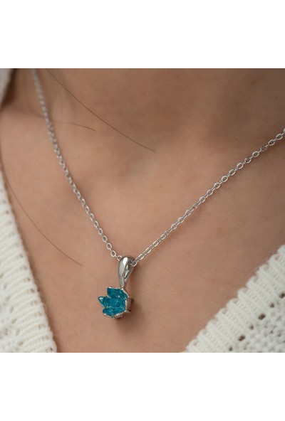 Ervanur Gümüş Kaplama Akuamarin Mavi Zirkon Taşlı Lotus Çiçeği Kadın Kolye