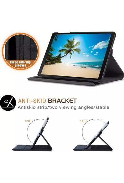 "Essleena Samsung Galaxy Tab A7 SM-T500 2020 10.4"" Kılıf + Kalem Uyku Modlu 360 Derece Dönebilen Standlı Tablet Kılıfı Gri"