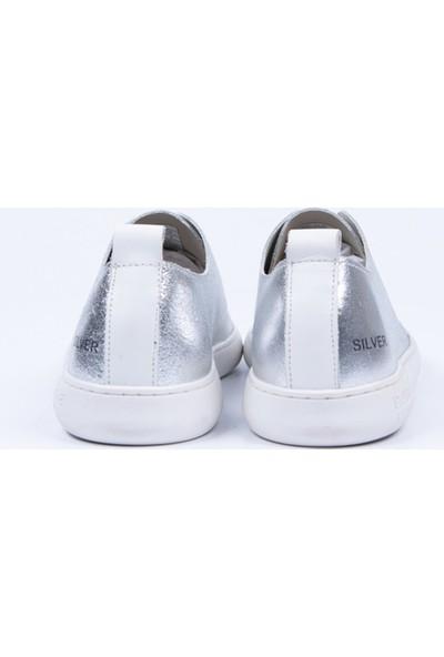 Pantone Gümüş Gerçek Deri Sneaker