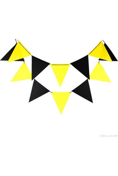 Niyet 25 Metre Üçgen Flama Bayrak - Süsleme Bayrağı - Sarı-Siyah Renkli