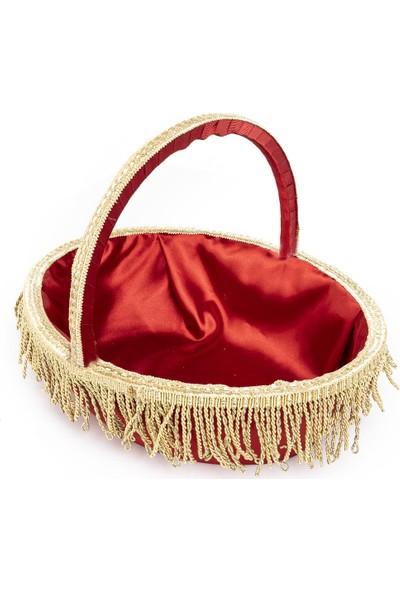 Garba Donna Püsküllü Kına Sepet ve Tepsisi - Kırmızı