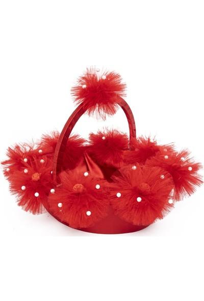 Garba Donna Ponponlu Çiçekli Kına Sepet ve Tepsisi - Kırmızı