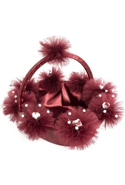 Garba Donna Ponponlu Çiçekli Kına Sepet ve Tepsisi - Bordo