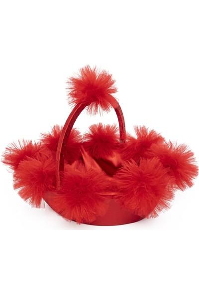 Garba Donna Ponponlu Kına Sepet ve Tepsisi - Kırmızı