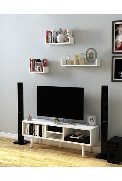 Bayz Televizyon Tv LCD Ünitesi Beyaz Mobilya Dekoratif Ürün Raflı