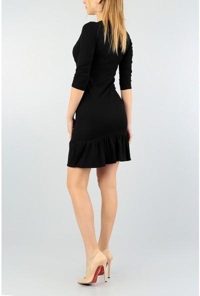 Kasheha Kadın Siyah Kruvaze Yaka Eteği Fırfırlı Kaşkorse Elbise - KAD3325349