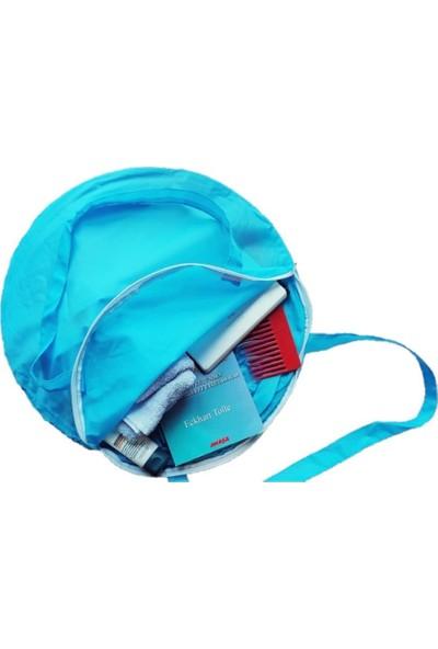 Plajmatik Pratik Katlanabilir Şezlong Çantalı Mavi