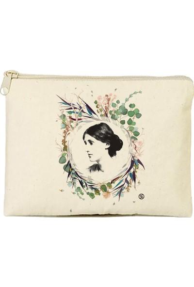 Sia Kitap Virginia Woolf Çiçekli Figür Tasarım Cüzdan 21X15 cm