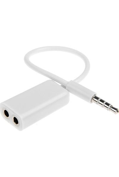 Microcase Kulaklık Çoklayıcı 3.5 mm Beyaz Kablo Adaptör - Beyaz