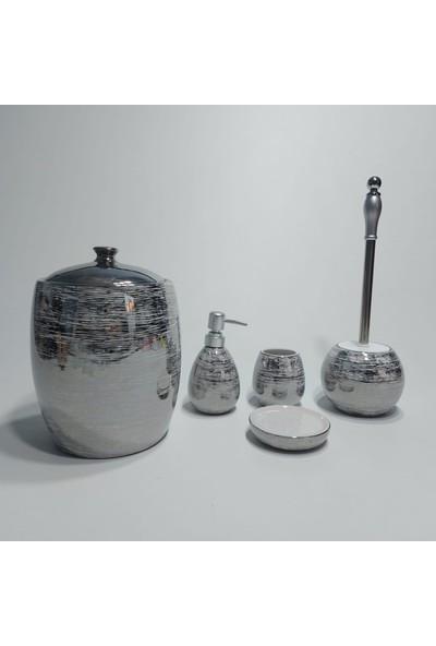 Arow Massimo 5 Parça Porselen Banyo Seti Gri