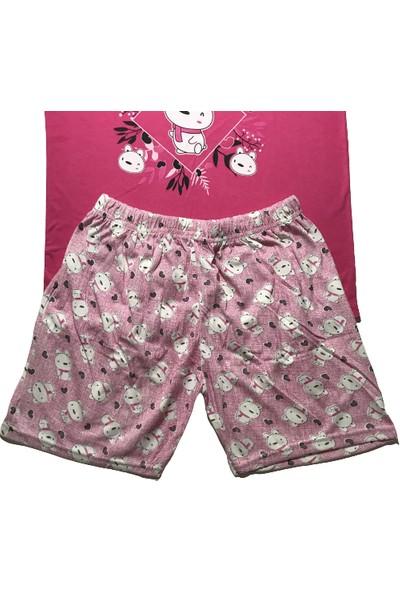 Baray Kadın Pembe Japone Kol Şortlu Pijama Takımı