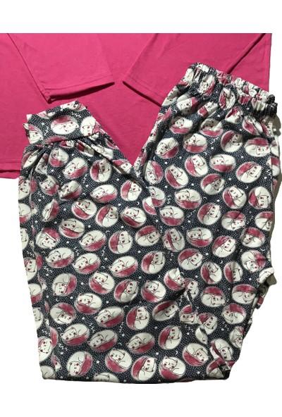 Baray Kadın Fuşya Uzun Kollu Baskılı Pijama Takımı