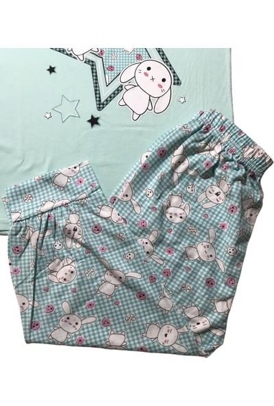 Baray Kadın Mint Yeşili Kısa Kollu Kapri Pijama Takımı