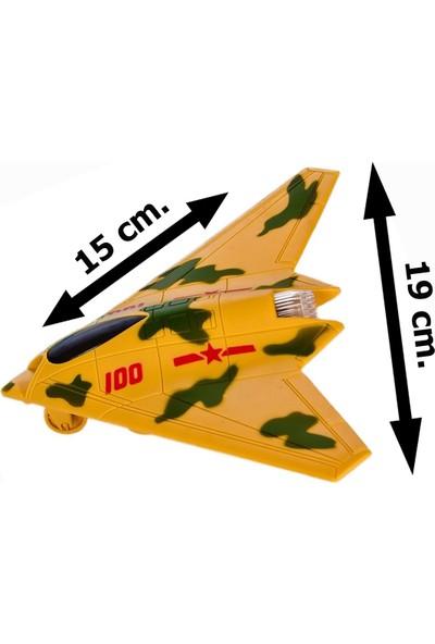 Elifeshop ES6663 Işıklı Müzikli Pilli Sürtmeli Oyuncak Hayalet Uçak Sarı