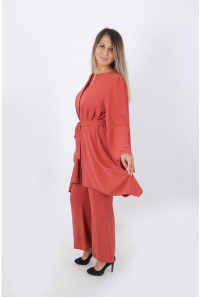 Hmd Moda Kadın Jesika Kumaş Gizli Düğmeli Beli Kuşaklı Salaş Tunik
