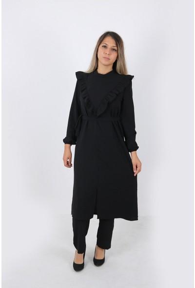 Ikram Moda Kadın Göğüs ve Sırtı Fırfır Detay Ayrobin Kumaş Tunik Takım