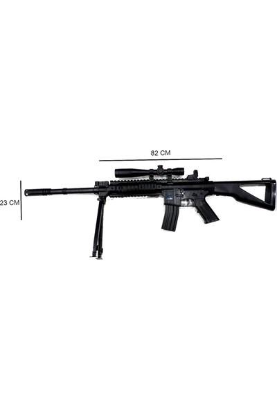 Elifeshop ES739777 Gerçek Görünümlü Lazerli Ayaklı Şarjörlü Boncuk Atan Nişancı Oyuncak Tüfek & Tabanca Seti