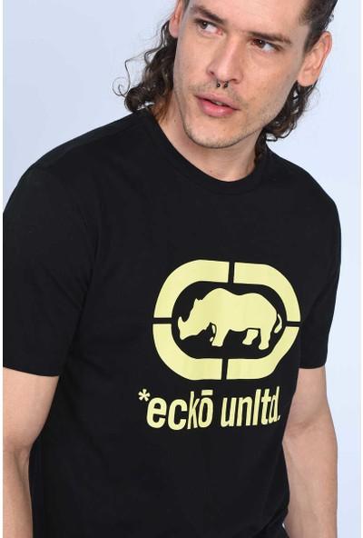 Ecko Logo Tee Siyah Erkek Bisiklet Yaka Tshirt