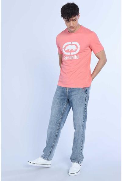 Ecko Logo Tee Pembe Erkek Bisiklet Yaka Tshirt
