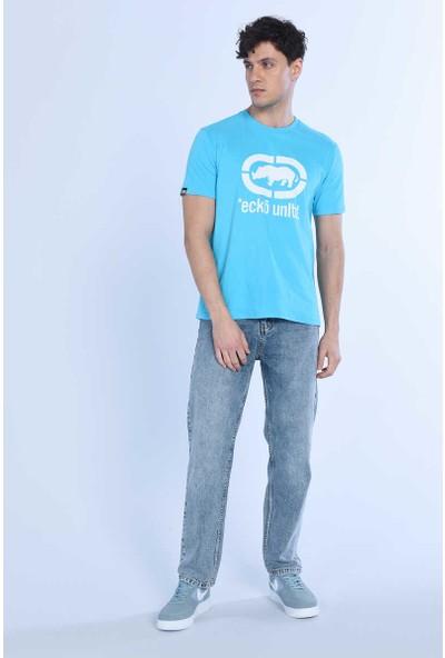 Ecko Logo Tee Mavi Erkek Bisiklet Yaka Tshirt