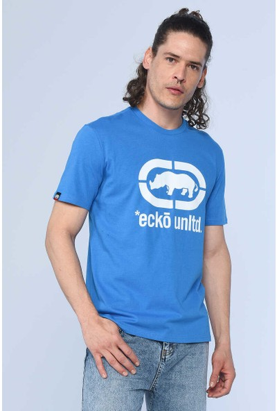 Ecko Logo Tee Lacivert Erkek Bisiklet Yaka Tshirt