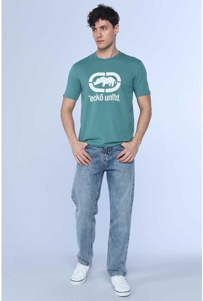 Ecko Logo Tee Koyu Yeşil Erkek Bisiklet Yaka Tshirt