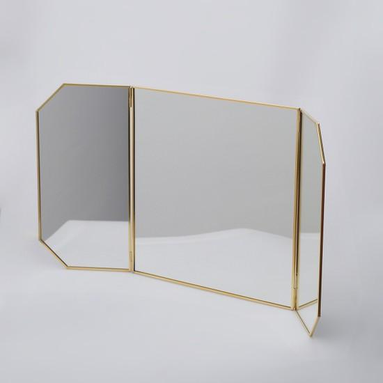 El Crea Designs Dekoratif Pirinç Ayna Masaüstü Kapaklı 60CM/30CMX30CM