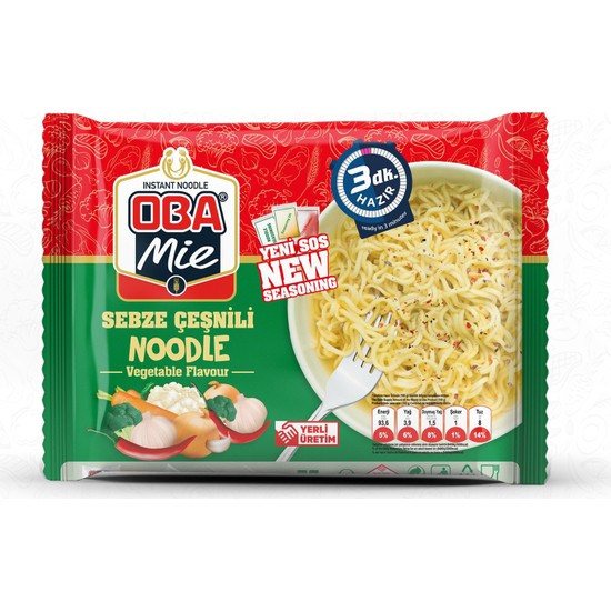 Oba Mie Noodle Sebzeli Hazır Makarna 75 gr x 40 + (5 Adet Çaykur Altın Süzen Poşet Bardak Çay)