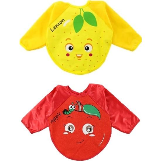 Belinay Limon ve Elma Motif Giyilebilir Kollu Mama Önlüğü