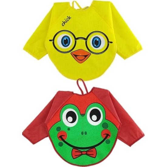 Belinay Kurbağa ve Civciv Motif Giyilebilir Kollu Mama Önlüğü