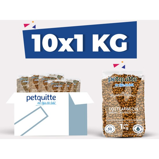 Petquitte Kısırlaştırılmış Somonlu Yetişkin Kedi Maması 1 Kgx10 Adet