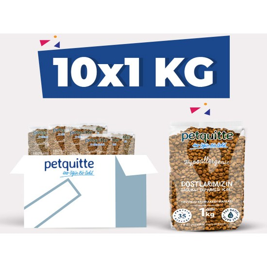 Petquitte Tavuk Etli Yavru Kedi Maması 1 Kg X 10 Adet