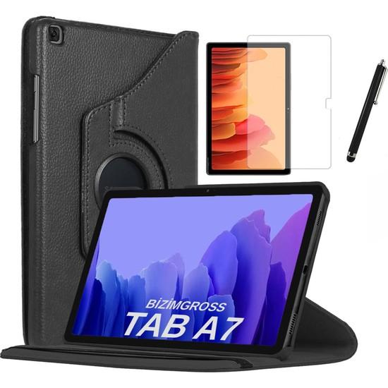 BizimGross Samsung Galaxy Tab A7 Sm T500 T505 T507 Dönebilen Tablet Kılıfı + Ekran Koruyucu + Kalem 10.4 Inç