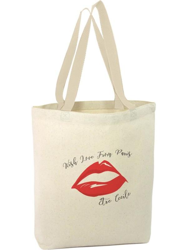 Angemiel Bag Dudak Tasarımı Paris'ten Sevgilerle Alışveriş Plaj Bez Çanta