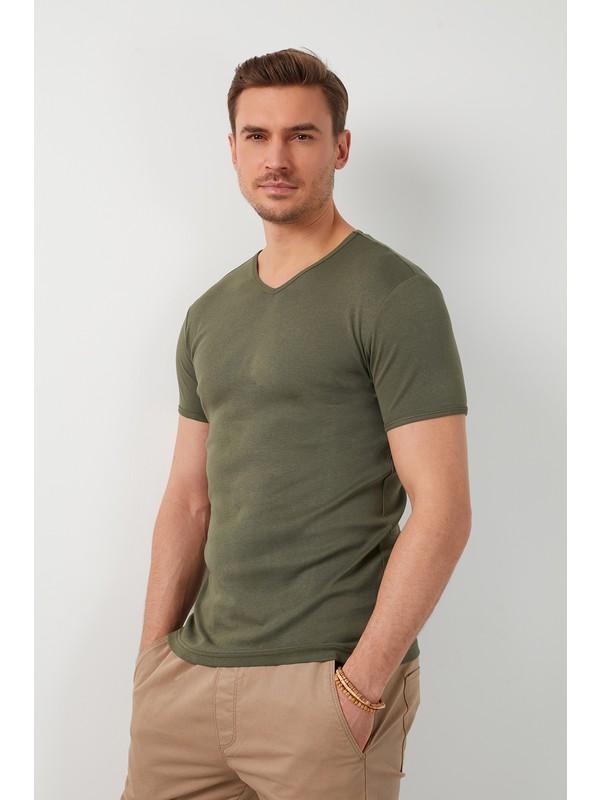 Buratti % 100 Pamuklu V Yaka Basic T Shirt Erkek T SHİRT 5902144