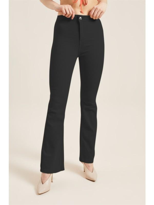 Z Giyim Kadın Siyah Yüksek Bel Ispanyol Paça Pantolon